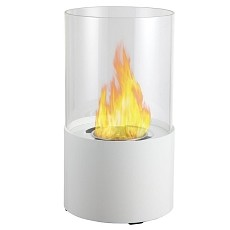 Moda Flame Lit Table Top Bio-Ethanol Fireplace in White