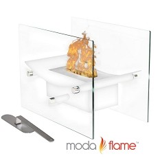 Moda Flame Cavo Table Top Ventless Bio Ethanol Fireplace in White