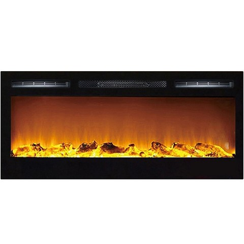 Moda Flame 36 Inch Cynergy Log Built-In Recessed Wall Mounted Electric Fireplace