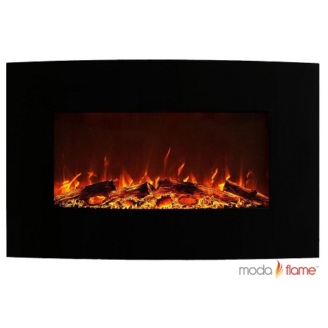 Moda Flame Chelsea 35 Inch Curved Black Wall Mounted Electric Fireplace