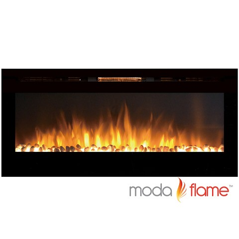 Moda Flame 50 Inch Cynergy Pebble Stone Built-In Wall Mounted Electric Fireplace
