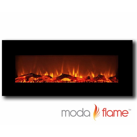 Moda Flame Houston 50 Inch Electric Wall Mounted Fireplace Black