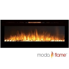 Moda Flame 60 Inch Cynergy XL Pebble Stone Built-In Wall Mounted Electric Fireplace