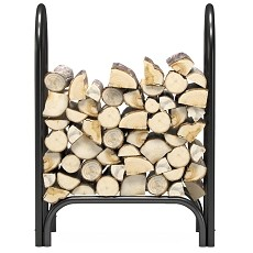 Regal Flame 28 Inch Heavy Duty Firewood Log Rack Outdoor Firewood Holder in Black