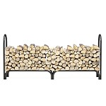 Regal Flame 8 Foot Heavy Duty Firewood Log Rack Outdoor Firewood Holder in Black