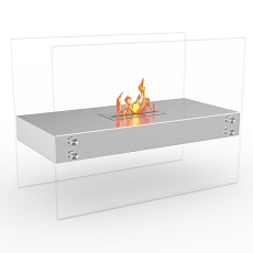 Regal Flame Ionic Ventless Free Standing Ethanol Fireplace in Stainless Steel