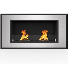 Cynergy 43 Inch Ventless Built In Recessed Bio Ethanol Wall Mounted Fireplace