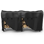 8 Foot Black Water Resistant Firewood Log Rack Cover