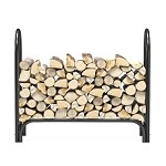 Regal Flame 4 Foot Heavy Duty Firewood Log Rack Outdoor Firewood Holder in Black