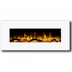 Regal Flame Ashford 50 Inch White Ventless Heater Electric Wall Mounted Fireplace - Log