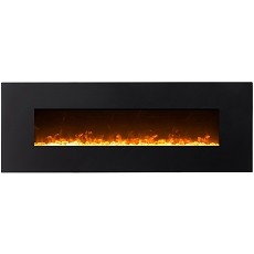 Regal Flame Erie 72 Inch Black Ventless Heater Electric Wall Mounted Fireplace - Crystal