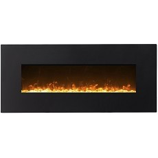 Regal Flame Orion 50 Inch Black Ventless Heater Electric Wall Mounted Fireplace - Crystal