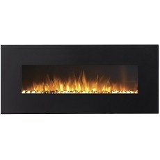 Regal Flame Rigel 50 Inch Black Ventless Heater Electric Wall Mounted Fireplace - Pebble