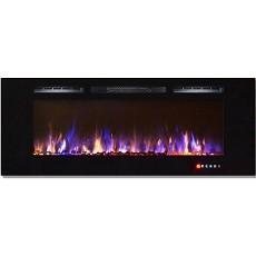 Moda Flame 60 Inch Bliss Crystal Recessed Touch Screen Multi-Color Wall Mounted Electric Fireplace