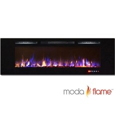 Moda Flame 72 Inch Bliss Crystal Recessed Touch Screen Multi-Color Wall Mounted Electric Fireplace