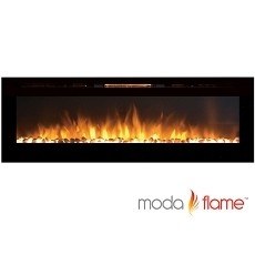 Moda Flame 72 Inch Recessed Cynergy XXL Pebble Built-In Wall Mounted Electric Fireplace