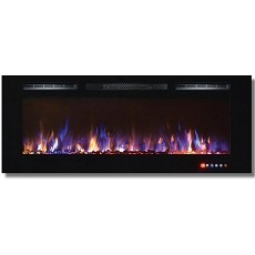 Moda Flame 50 Inch Bliss Crystal Recessed Touch Screen Multi-Color Wall Mounted Electric Fireplace